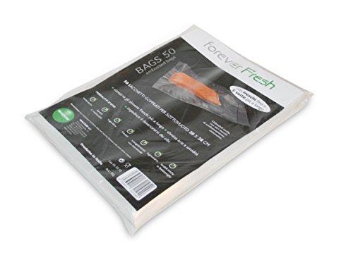 MACOM Forever Fresh 702. Confezione di 50 Sacchetti Goffrati per la Conservazione Sottovuoto Alimenti, 20 x 28 cm