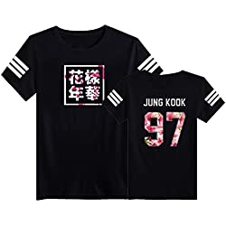 SERAPHY Camiseta Unisex KPOP BTS Camiseta Estampada Bangtan Boys BTS Young Forever Bloom Floral Suga Jin Jimin Jung Kook J-Hope Rap-Monster V negro-97 M