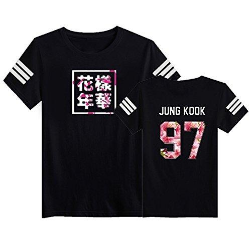 SERAPHY Unisex KPOP BTS Young Forever T-Shirt Bangtan Boys BTS Blühendes Blumenoberteil Suga Jin Jimin Jung Kook J-Hope Rap-Monster V schwarz-97 2XL