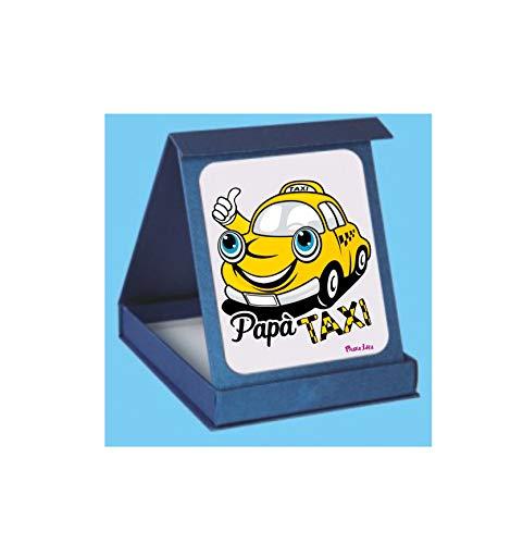 Targa targhetta adesiva con scatola scritta papà taxi regalo festa papà