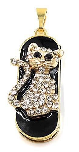 Onlineworld2013 Katze Golden Edel Metall Charm Anhänger Funny USB Stick 8 GB USB 2.0 -