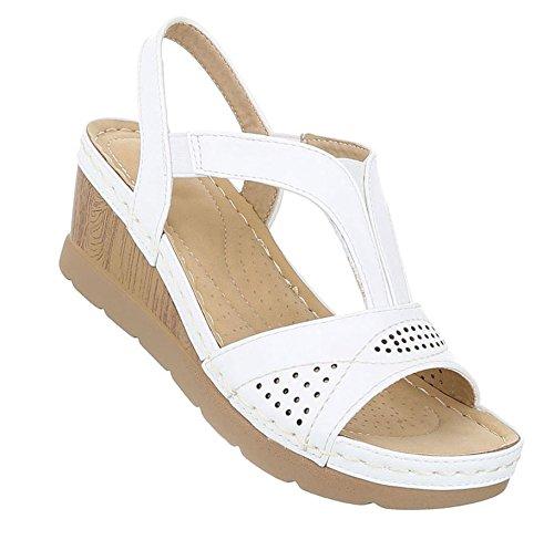 Damen Sandaletten Schuhe High Heels Keil Wedges Pumps Weiß