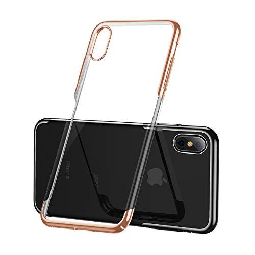 AICase Kompatibel iPhone XS Max Hülle, Transparent Handyhülle Durchsichtige Rückschale mit PC Bumper Schutzhülle Case für Apple iPhone XS Max 6.5 Zoll (iPhone XS Max Hülle, Gold)