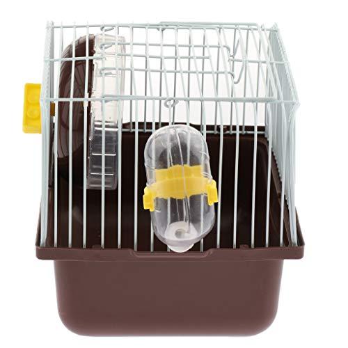 PETSOLA Tragbar Hamsterkäfig Nagerkäfig 23x17,5x16 cm mit Wasserflasche, Schüssel und Laufrad - Kaffee