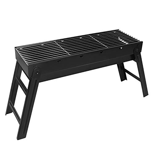 Sunjas Holzkohlegrill, Picknickgrill Faltbare, BBQ Campinggrill, Outdoor Klappgrill, Tischgrill für Picknick Party Barbecue (groß 70x20x37cm)
