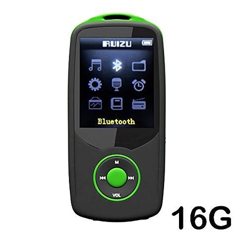cfzc 16GB Bluetooth MP3-Player verlustfrei Sound Musik Media Player mit FM Radio, Video, Voice Record und MicroSD Slot