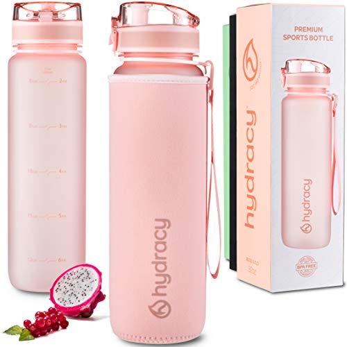 Hydracy 1 Liter Wasserflasche mit Infuser und Zeitmarkierung - BPA-Frei Auslaufsicher und Kondenswasserfrei - Ideal für Sport und Outdooraktivität - Rosa Gold