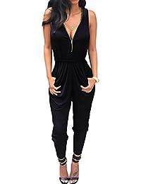 Chinatera Femme Sexy Combinaison Zippé Taillé Sans Manche Jumpsuit Playsuit Rompers