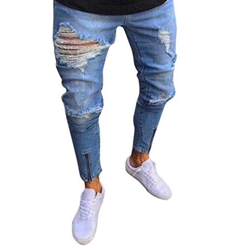❤️Pantalons Homme, Amlaiworld Hommes Skinny Jeans Slim Straight Stretch Denim Pantalon Ripped Pantalon Jean Denim Zipper (S, Bleu Clair)