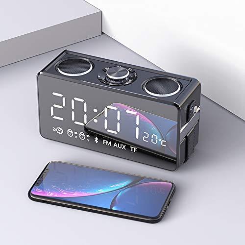 Clock Radios Für Schlafzimmer Mit Batterie Backup, Linie Mini Bluetooth Lautsprecher Großes Volumen Übergewicht Subwoofer 3D Surround Auto Tragbare Kleine Wecker,Black - Wecker Batterie-backup Mit