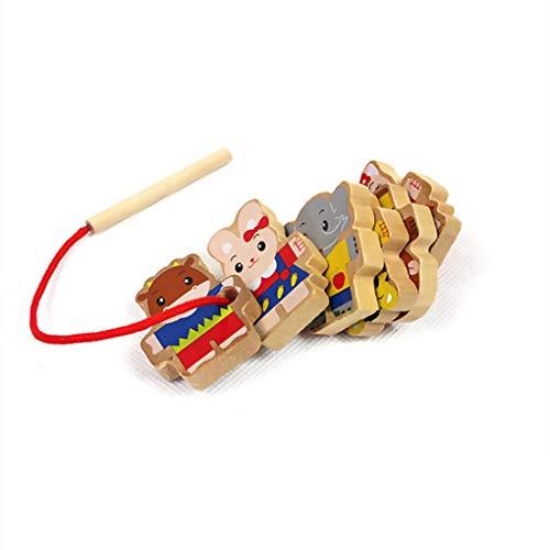 Fornateu Kinder Kinder Early Learning Ressourcen Educational Holztier String Perlen Schnürsystem Spielzeug