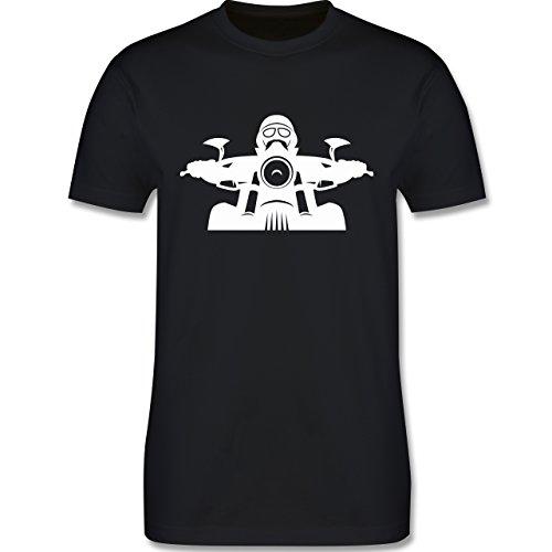 Motorräder - Biker Helm Bart Brille - Herren Premium T-Shirt Schwarz