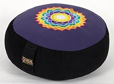 Meditationskissen Chakra blau/schwarz / 7. Chakra Kronen-Chakra, Ø 33 cm, Höhe 15 cm, Bezug und Inlett 100 % Baumwolle, Füllung Buchweizenschalen, Bezug und Inlett maschinenwaschbar bis 30ºC