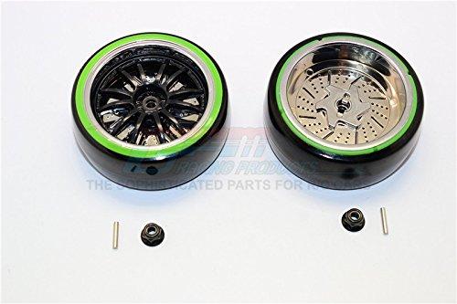 Delrin Drift Tires Of 26mm Width Mount With 6 Spokes Plastic Wheels - 1Pr Set Black+Green Mount 26