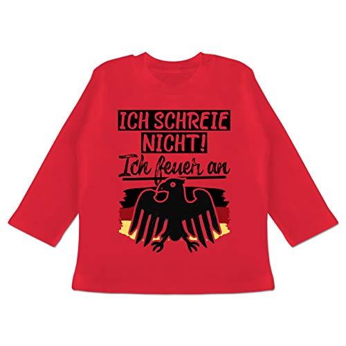 Handball WM 2019 Baby - Ich Schreie Nicht! Ich Feuer an - 12/18 Monate - Rot - BZ11 - Baby T-Shirt Langarm