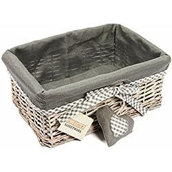 Woodluv grau Weidenkorb Geschenkkorb Regal Korb mit Futter, mittel