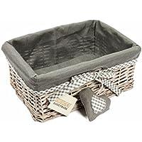 WoodLuv - Cesta de mimbre con forro de tela, tamaño mediano, color gris
