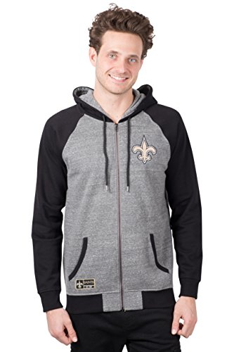 ICER Brands NFL Herren Kapuzenpullover mit Reißverschluss Raglanjacke, Teamfarbe, Herren, Full Zip Hoodie Sweatshirt Raglan Jacket, Team Color, grau, Medium