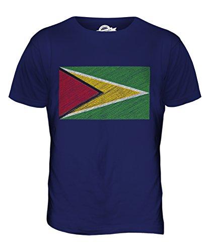 CandyMix Guyana Kritzelte Flagge Herren T Shirt Navy Blau