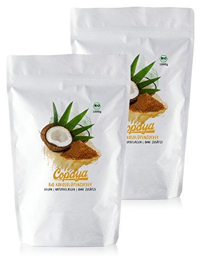 Kokosblütenzucker BIO | 2000g | Kokoszucker | Zuckerersatz | Premium Qualität ohne Zusätze | Vorratspackung (2x1000g)