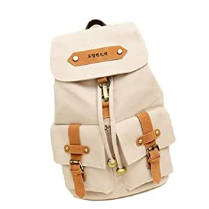 K9Q Korean Cute Women Girl Vintage Canvas Backpack Shoulder Bag School Bag Travel Rucksack Satchels Shipped With Tracking No. & A Exclusive Gift (Beige)