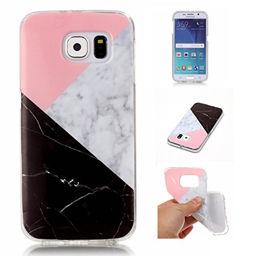 Cozy Hut Für Samsung Galaxy S6 Handyhülle mit Marmor / Marble Design(schwarz / Pink und weiß) | Handytasche | | Schale | | Hülle | | Case | Handy-etui | (Tinkerbell Zubehör)