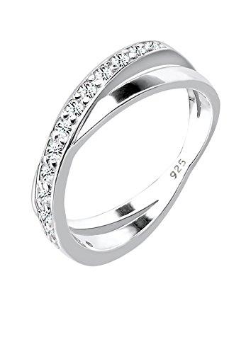 Elli Damen-Ring Klassisch silber 925 Swarovski Kristall weiß Gr. 58 0605331412_58