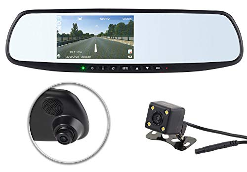 NavGear Rückfahrkamera Spiegel: Full-HD-Rückspiegel-Dashcam mit Rückfahr-Kamera, 11,4-cm-Display & FSE (Rückfahrkamera Rückspiegel)