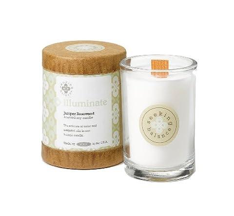 Root Candles Seeking Balance 6.5oz Juniper Rosewood Illuminate Candle, Wax, White