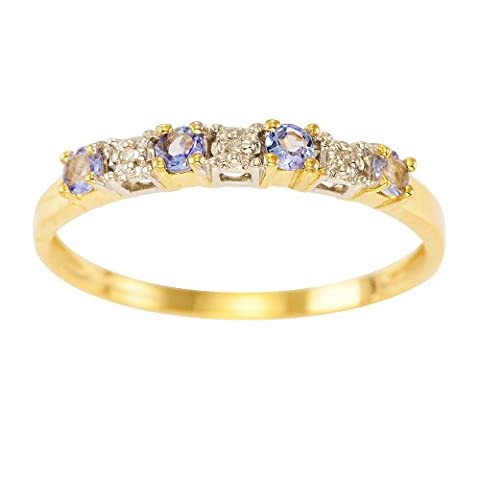 Kareco Eternity Ring, 9ct Yellow Gold Diamond and TanzaniteRing, Claw