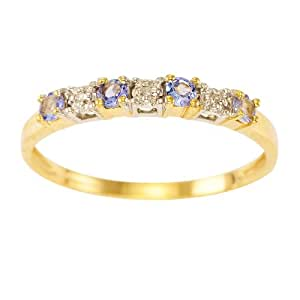Kareco Eternity Ring, 9ct Yellow Gold Diamond and TanzaniteRing, Claw Set - Size L