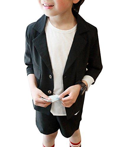 Jungen Anzug Pagenanzüge Jungs Hochzeit Party Anzug 2 Stücke Blazer Jacke + Kurze Hose Schwarz (5 Stück Schwarz Anzug)