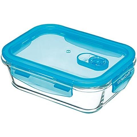 KitchenCraft Pure Seal Airtight Contenitore per alimenti per forno in vetro, piatto, 350 ml (12,5 fl oz), rettangolare, Vetro, trasparente, 600 ml (1 Pint)