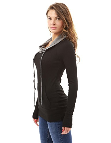PattyBoutik femmes blouse bicolore avec cordon de serrage à col bénitier à manches longues avec poche noir et gris
