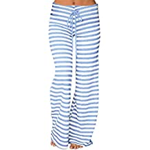 Luismes Womens Striped Waist Drawstring Casual Yoga Wide Leg Lounge Pants Women Striped High Waist Elastic Loose Wide Leg Trousers Dancing Yoga Pants