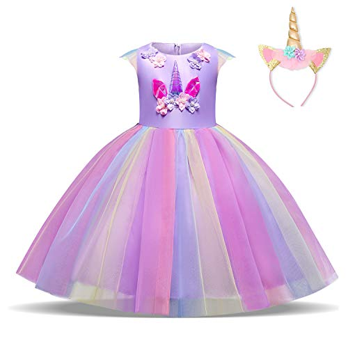 rn Kleid Blume Applique Party Cosplay Halloween Phantasie Kostüm Headwear Größe (130) 5-6 Jahre Lila ()