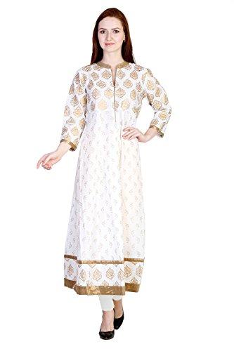 White Cotton Golden Block Printed 3/4 Sleeve Anarkali Kurtis (Women's Clothing Kurti...