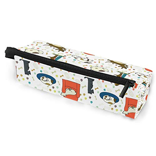 Pencil Bag Pen Case Pouch Sofa Dog Bone Paw Seamless Pattern Makeup Cosmetic Sunglasses for Girls Boys Travel School
