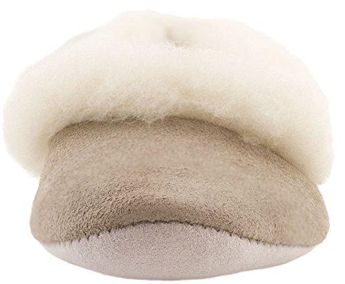 Lambland pour femme/femme complète en daim et laine d'agneau grecque Style Pantoufle Beige