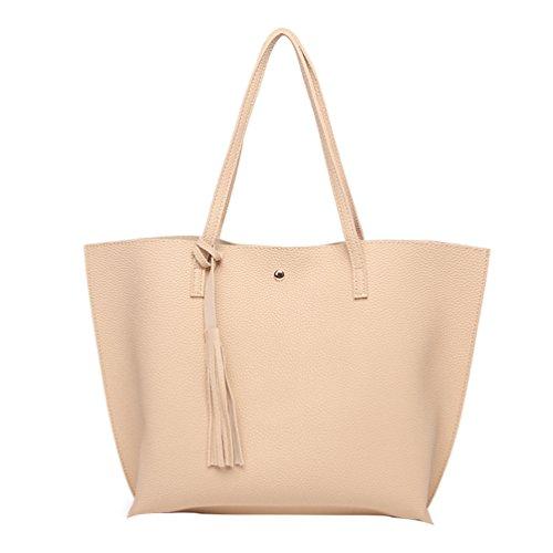 PB-SOAR Damen Mädchen Fashion Shopper Schultertasche Schulterbeutel Henkeltasche Handtasche Einkaufstasche aus Kunstleder 36x30x11cm (B x H x T) (Golden) Beige