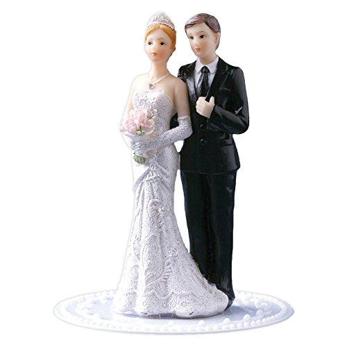 Cake Company klassische Hochzeit-Figur Braut-Paar | ca. 10 cm aus Polyresin auf Kunststoffsockel | nicht essbare Kuchen-Deko für Hochzeit-Deko | Torten-Figur & Tortenaufsatz für Hochzeit-Torten-Deko