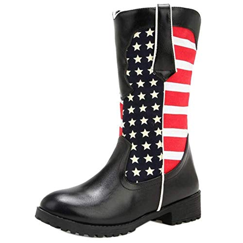 Kaloosh Women's PU Hunter Cowboy Boots American Flags Martin Leather Boots Round Toe Square Heel Fashion Shoes - Black Square Toe Cowboy-stiefel