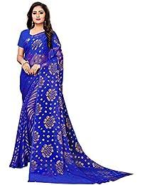 349bc1697c AKHILAM Women's Chiffon Saree with Unstitched Blouse Piece (Blue_BRSOB306B)