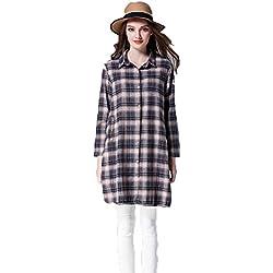 Camisa De Algodón De La Tela Escocesa,Rejilla gris,Un tamaño