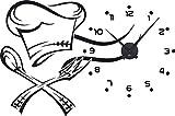 GRAZDesign Wanduhr Küche Kochmütze - Wandtattoo mit Uhrwerk Besteck - Küchenuhr Kochen / 86x57cm / 800317_BK_070