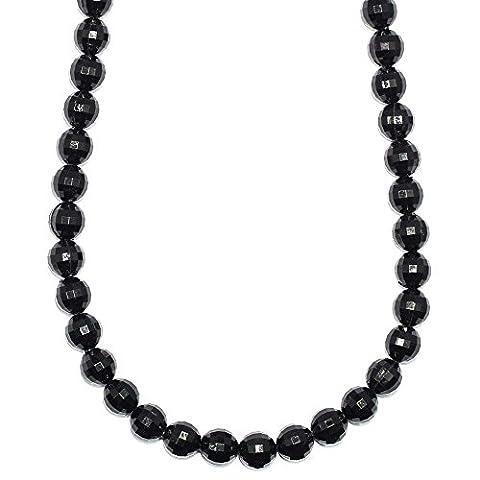 Shamballa Necklace Faux Onyx Black Ball Beads - 26 inches