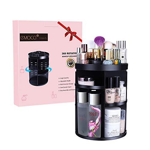 Organiseur de maquillage Emocci DIY amovible Make Up support de stockage de grande capacité Boîte de rangement pour cosmétiques Acrylique Noir