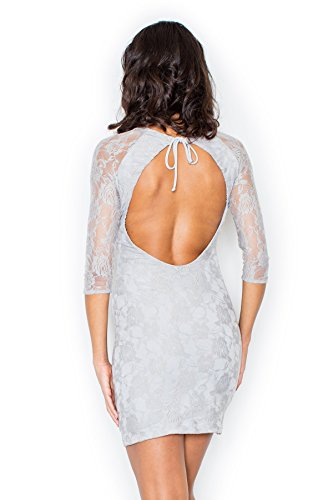 Elégante robe de soirée manches en dentelle Figl Gris