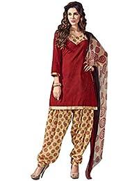 Terramart_ Salwar Set Material For Girls / Women - Chanderi Cotton ( Red, Sandal, Black & Gold )