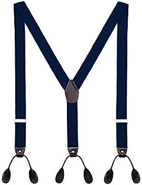 Tirantes Hombre Y-Forma De Botón Ajustable Extra Fuerte Elástico De 3.5cm Ancho 6 Ojales Accesorio